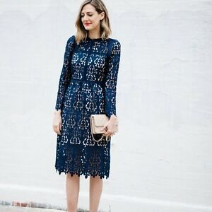 Zara Navy Blue Lace Guipure Embroidered Crochet Midi Dress 9775041