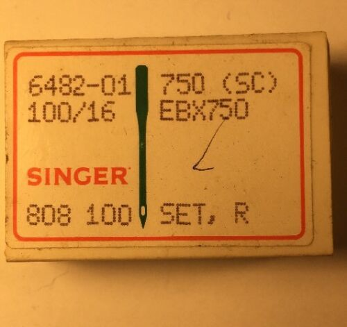 FREE SHIPPING BOX OF 100 SINGER INDUSTRIAL SEWING NEEDLES 750SC SIZE 100//16
