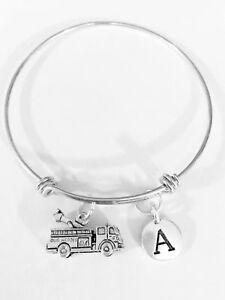 Firefighter-Bangle-Charm-Bracelet-Fire-Truck-Mother-039-s-Day-Initial-Jewelry