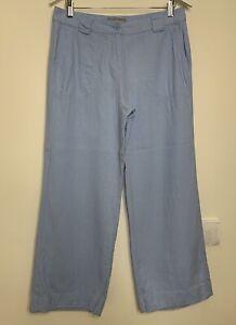 M-amp-S-Woman-Linen-Mix-Trousers-Size-12-Short-Light-Blue