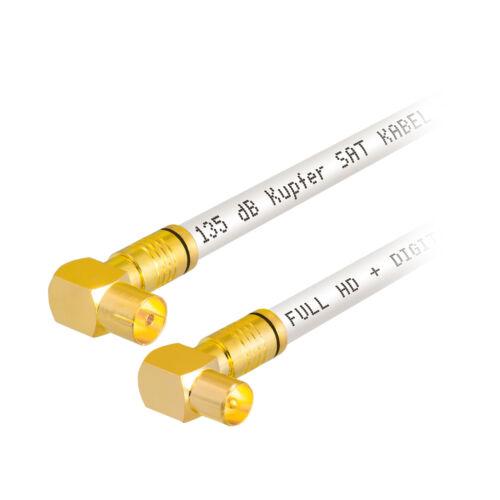 135dB 5-fach CU 1m Antennenkabel Anschluss Kabel Winkel IEC Buchse Stecker WEISS