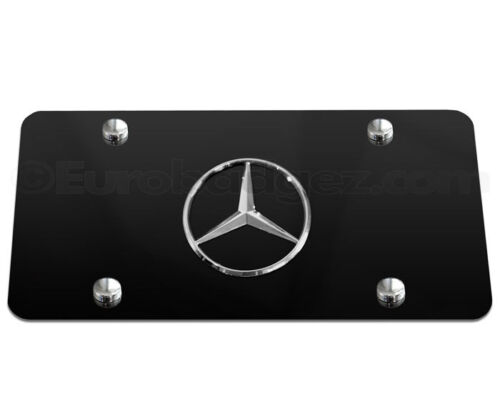 1- NEW BLACK Mercedes Benz 3D Logo Stainless Steel VANITY LICENSE PLATE
