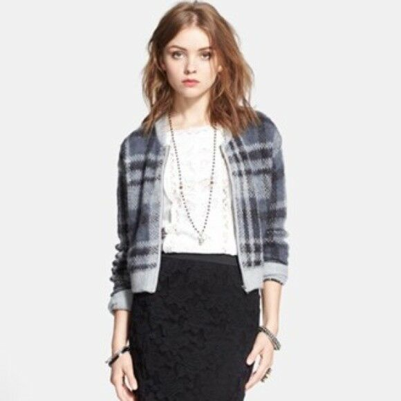 Free People Oh My Plaid Maglione Cardigan Giacca Grigio S