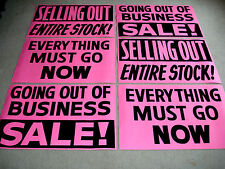 6 Asst. GOING OUT OF BUSINESS Window Signs 2x3 Paper Black on Bright Pink