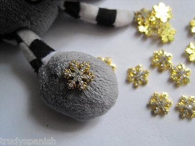 3D Nail Art Metal Christmas Snowflakes Tree Bows Stars Rhinestones 10 PIECES NEW