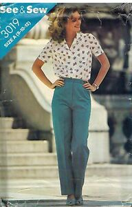 3019-Vintage-Butterick-Sewing-Pattern-Misses-Loose-Fitting-Blouse-Pants-SEE-amp-SEW