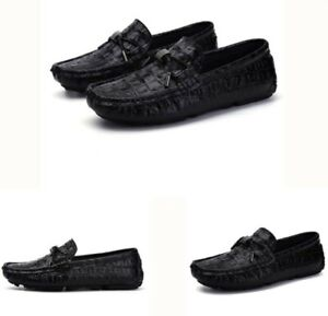 mens leather alligator pattern slip on loafers casual