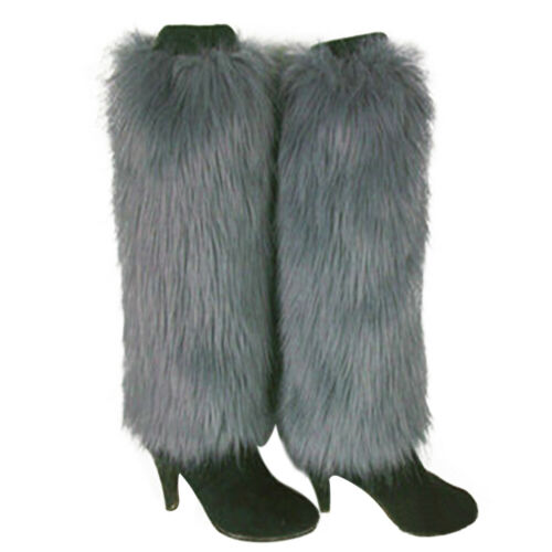 EE/_ LADIES BOOT CUFF FLUFFY SOFT FURRY FAUX FUR LEG WARMER WOMEN BOOT TOPPERS FA
