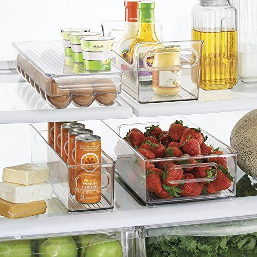 Freezer Storage Organizer Bins Containers Holder Refrigerator Food Clear Set NEW