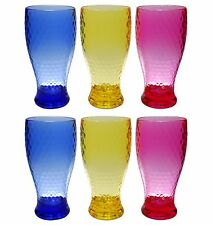 QG 21oz Colorful Beehive Acrylic Drinking Glass Tea Cup Plastic Tumbler Set of 6