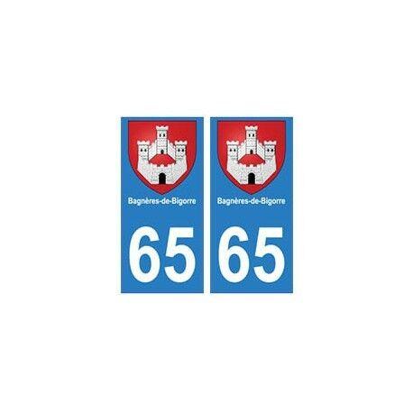 65 Bagnères-de-bigorre ville autocollant plaque -  Angles : droits