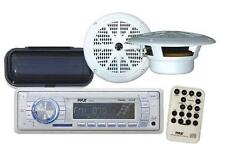 """Radio MP3 USB AUX New Marine Receiver Pair 6.5"""" White Speakers w/Stereo Cover"""
