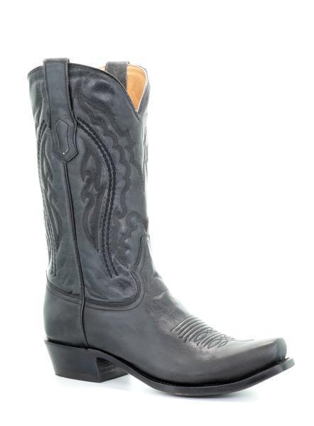 Corral Para Hombre de Cuero Occidental botas Negras Dedo Del Pie Cuadrado estrecho A3478