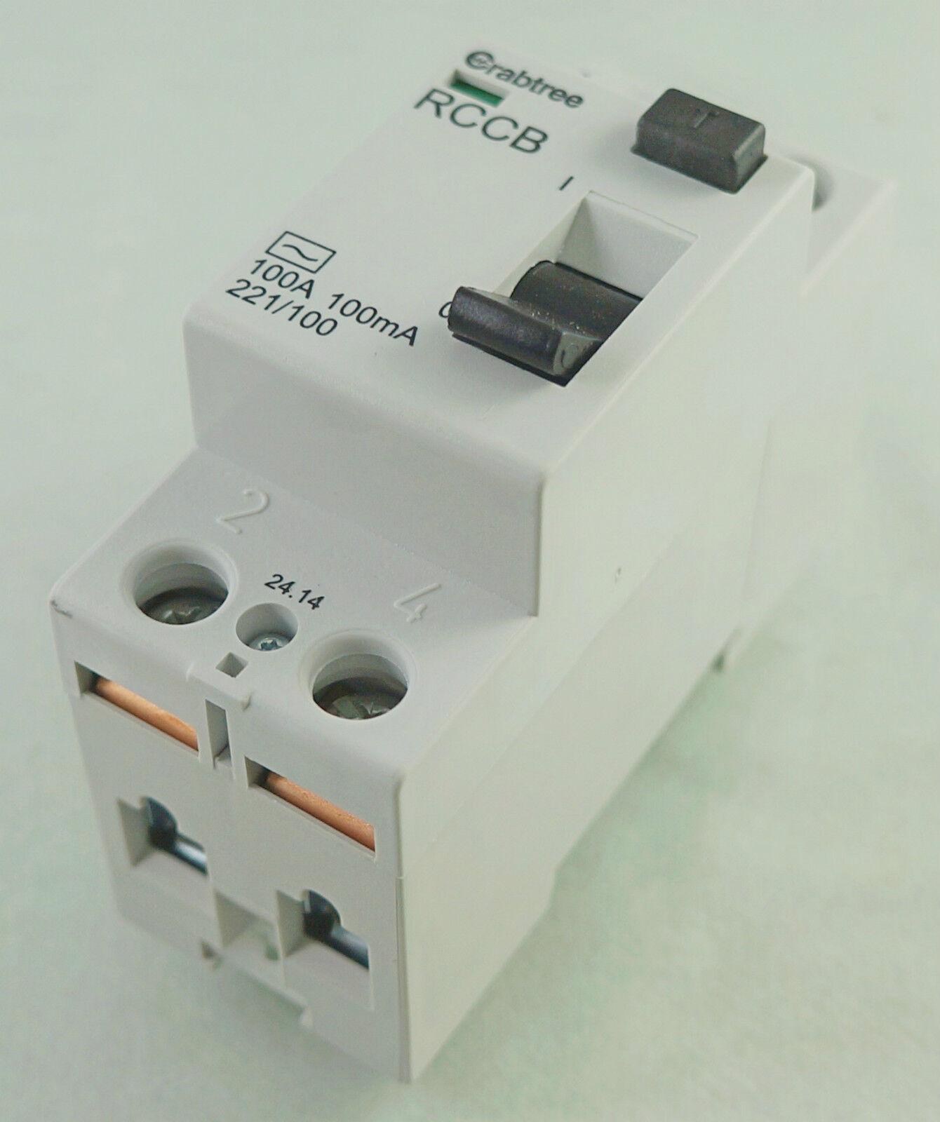 Lifestar 100A 100mA 2 Pole RCCB DP Residual Current Circuit Breaker 230V 221//100
