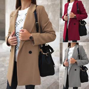Noi-donne-caldo-lungo-Parka-cappotto-Outwear-da-donna-Inverno-Lana-Cappotto-Giacca-TRINCEA