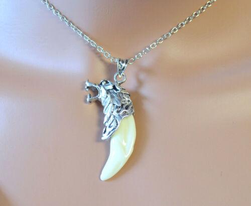 Herrenkette Wolfszahn Zahn 3D Halskette Weihnachts Geschenk Halloweenkette Neu