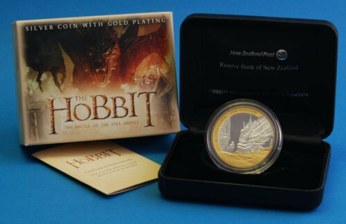 1 OZ Hobbit Coin  DRAGON Bilbo Baggins Silver $1 Proof Coin New Zealand 2014