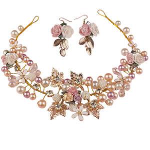 Pearl-Flower-Crystal-Rhinestone-Wedding-Bridal-Headband-Clip-Hair-Band-HandmadeZ