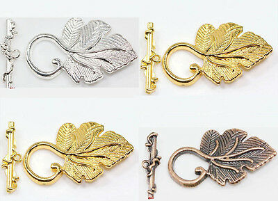 10Pcs Silver/Golden/Copper Grape Leaf Toggle Clasp Jewelry Findings