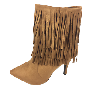 Womens-Ladies-Tan-Faux-Suede-High-Heel-Fringe-Shoes-Ankle-Boots-Size-UK-8-New