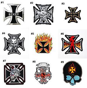 German Cross Motorcycles Biker Fire Tattoo Style Vest Jeans jacket Iron on Patch
