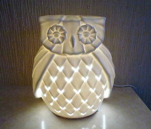 Image Is Loading Owl Table Lamp Ornamental Light Cream White Ceramic
