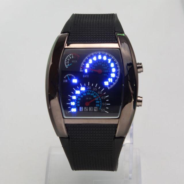 Popular Blue LED Light Aviation Speedometer Steel Case Wrist Watch Fashion