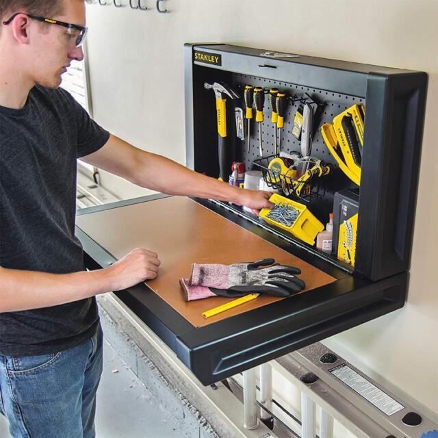 Wall Mount Workbench Tool Storage Folding Garage Shed Shop
