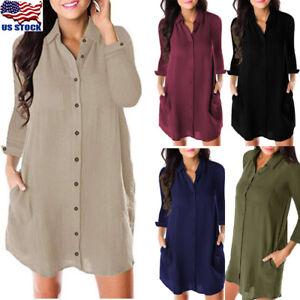 US-Women-V-Neck-Long-Sleeve-Blouse-Button-Down-Top-Shirt-Casual-Loose-Mini-Dress