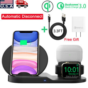3in1 Qi Wireless Charger Charging Station Dock Apple Watch Iphone Airpods Pro Ebay