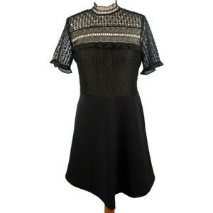 Zara-Size-10-Black-Lace-Fit-and-Flare-Dress-Short-Sleeve-Party-Evening-Xmas