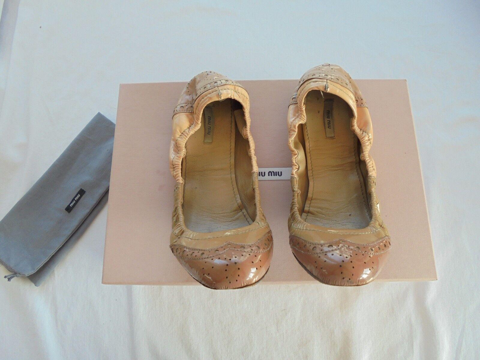 Miu Miu by Prada Leder Nude Ballerinas NP:  Pumps Schuhe Gr. 36,5 37