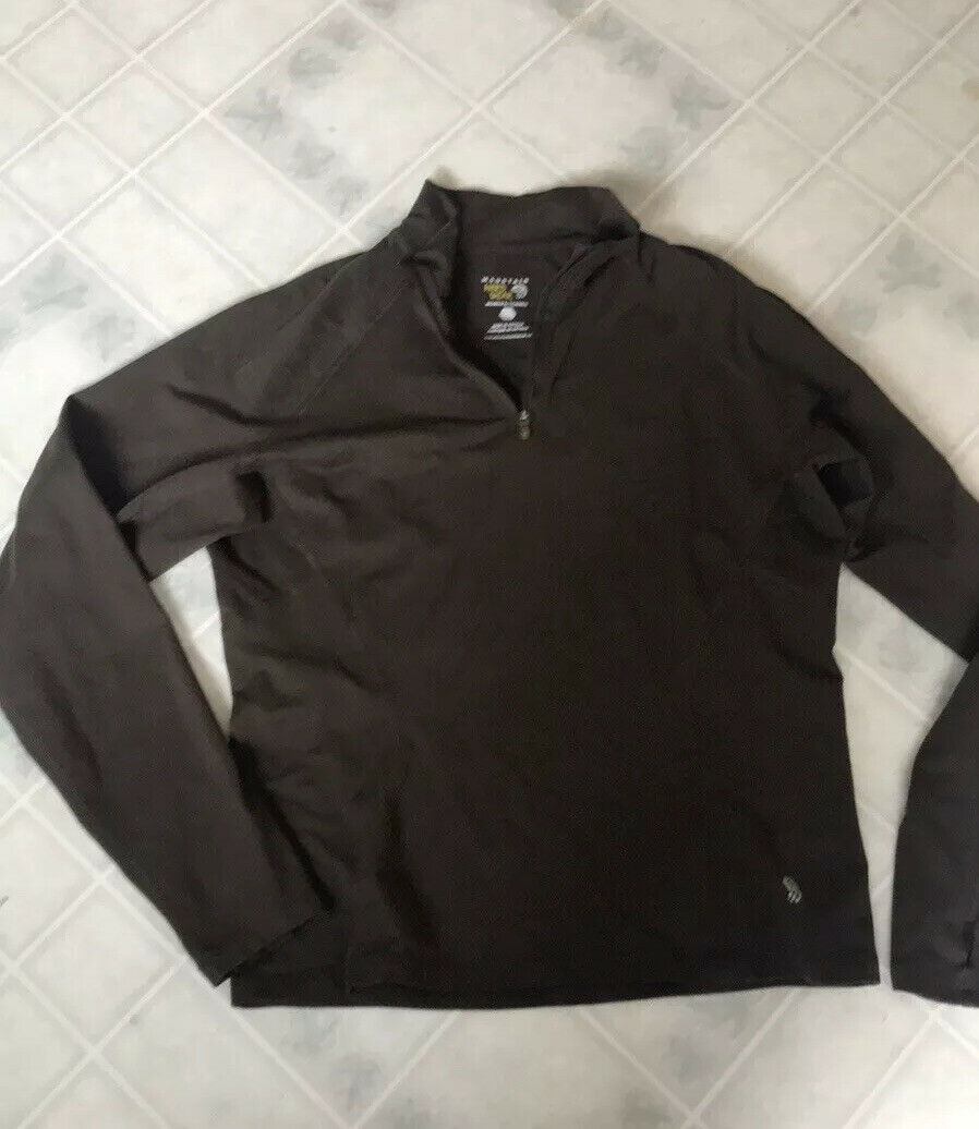 MOUNTAIN HARDWEAR 1/2 Zip Pullover Size Medium brown Jacket Thumb holes