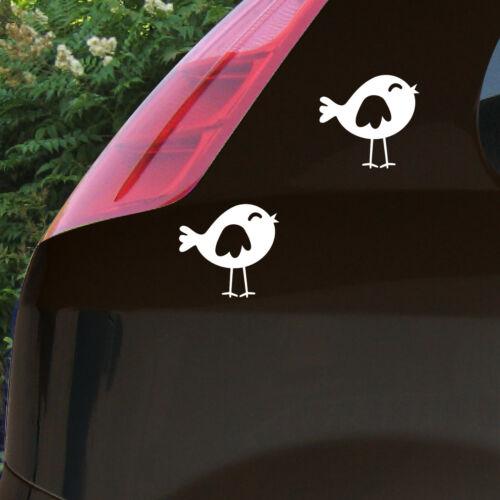 2 Autocollant Moineau OISEAU 10 cm Blanc Tatouage Voiture Enfant Meubles Porte Fenêtre Déco Film