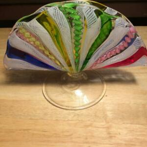 Venini-Style-Art-Glass-Twisted-Ribbon-Hand-Blown-Footed-Fan-Vase-7-1-2-034-x-5-1-4-034