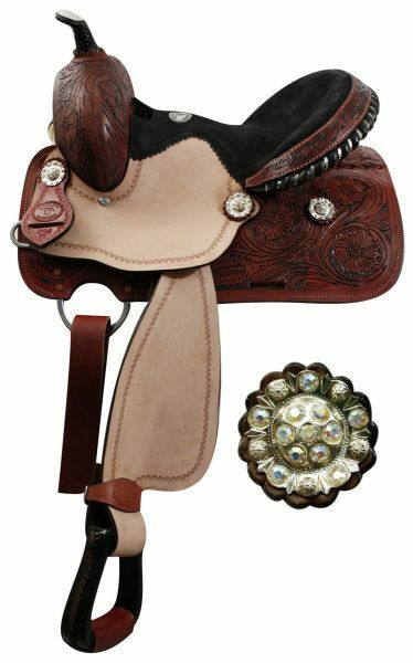 13 Youth Double T barrel saddle with fully tooled pommel, skirts and cantle.