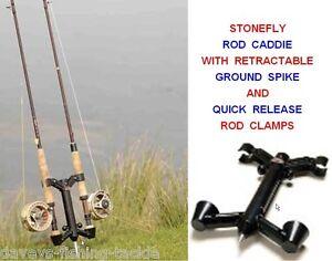 Stonefly rod caddie ground spike 2 rod holder fly fishing for Ground fishing rod holders