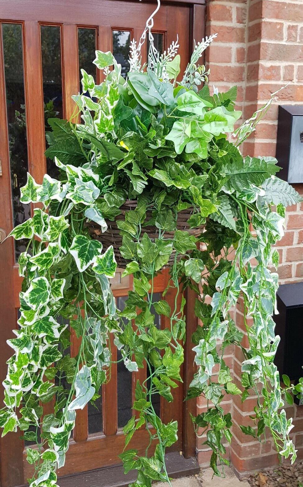 Large Artificial Trailing Hanging Basket Grünery Leaves Ivy Leaf Fern Foliage