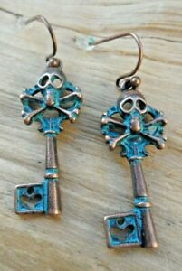 Skull and Crossbones Key Antique Copper Effect /& Turquoise Cutout Earrings