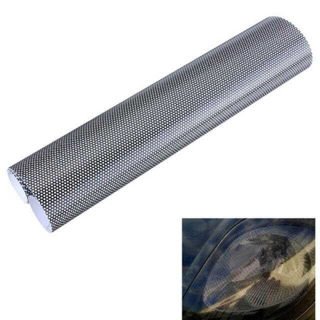90CM x 106CM Headlight Tint Perforated Film Mesh Like Fly Eye MOT Legal Tinting