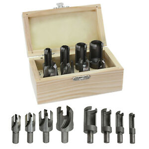 "8 Pc Wood Plug Hole Cutter Wooden Dowel Cutting Drill Bits Tools 3/8"" 10mm Shank"