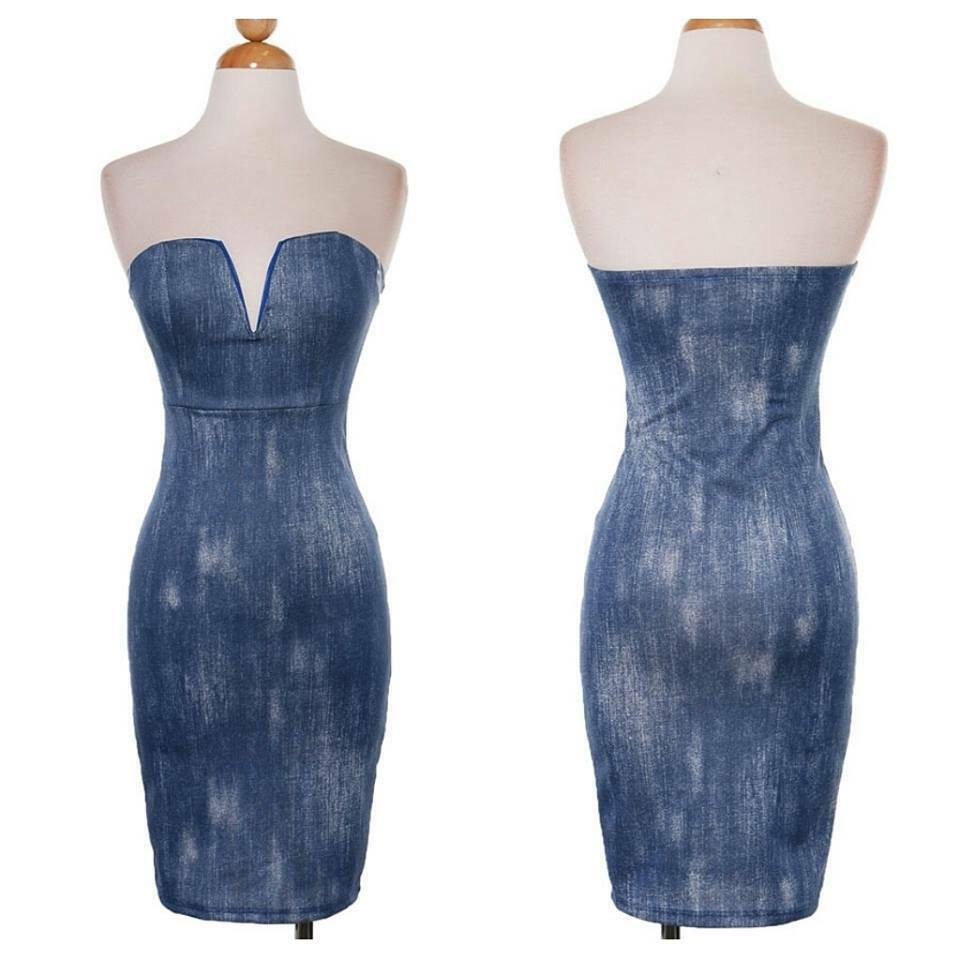 c3384261b23 ... Denim Print Strapless Strapless Strapless Sweetheart Dress (runs small)  804eca