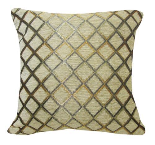 Wd40Ba luz tan Damasco Chenille cheque Tirar Funda De Cojín//Funda de almohada de tamaño personalizado