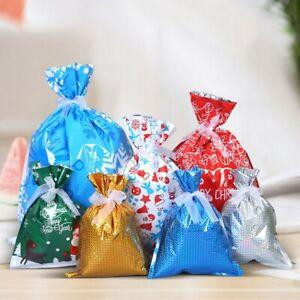 10pcs Christmas Gift Bags Santa Printed Packaging Xmas Treat Foil Drawstring Bag