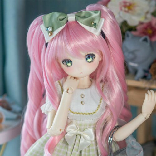 Pink Long Curly twin tail wig for 1//3 BJD Doll DD//MDD//SD Cos Hair braided