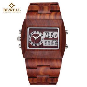 BEWELL Men Wood Watch Square LED Analog-Digital Multi-function Luminous Watch