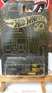 Hot-Wheels-50-Th-Aniversario-Negro-amp-Gold-Hueso-Coctelera-N9