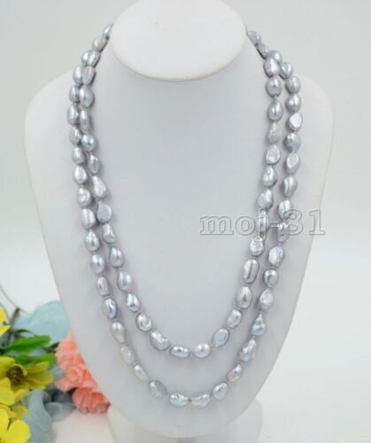Natural énorme 12-14 mm South Sea Genuine Silver Gray Perle Baroque Collier 35/""