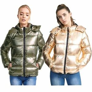 1c3834191bb Image is loading New-Womens-Metallic-Gold-Sliver-Quilted-Winter-Coat-