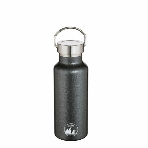 Cilio Isolierflasche Grigio 0,5 L Acier Inoxydable Noir-marteau frappe